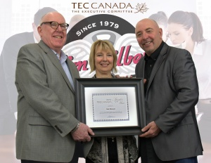pictured from left Mike Mallory (Chair TEC 390-391) , Karen Chown (VP of TEC Canada), Gair Maxwell, (2012 Canadian Speaker of the Year)